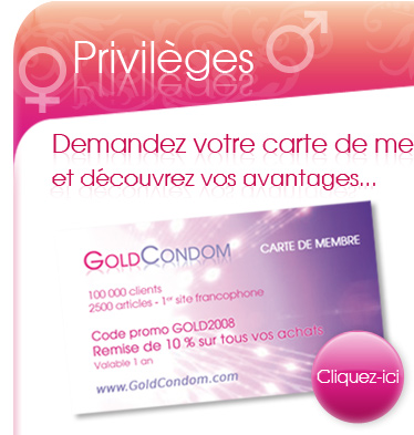 Carte de membre GoldCondom avec code PROMO