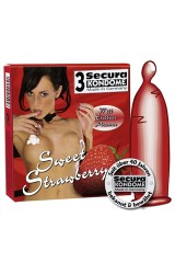 3 préservatifs Secura Sweet Strawberry